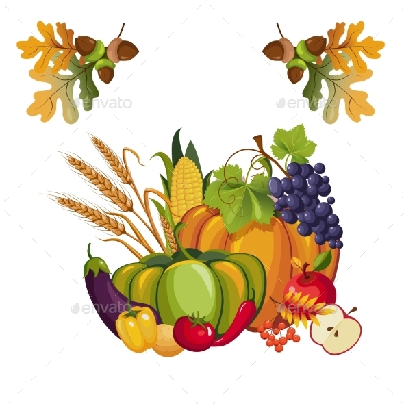 Harvest Of Vegetables And Fruits, With Autumn