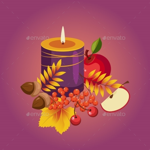 Thanksgiving Autumn Illustration With Candle