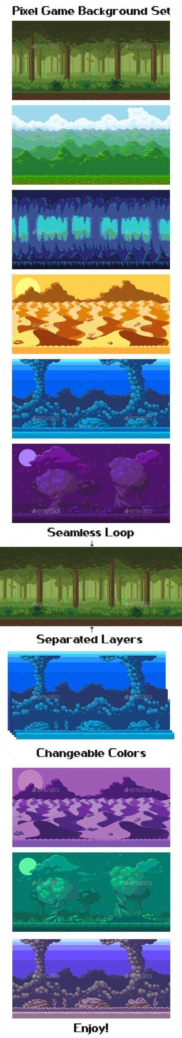 Pixel Game Background Set (Backgrounds)