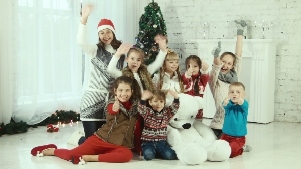 Group Of Childrens On The Background Of Christmas