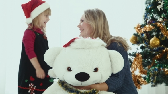 Decorating Of White Christmas Toy Bear