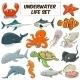 Cartoon Underwater Animals Set