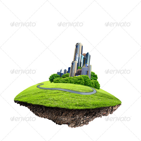 Modern city surrounded by nature landscape - Stock Photo - Images