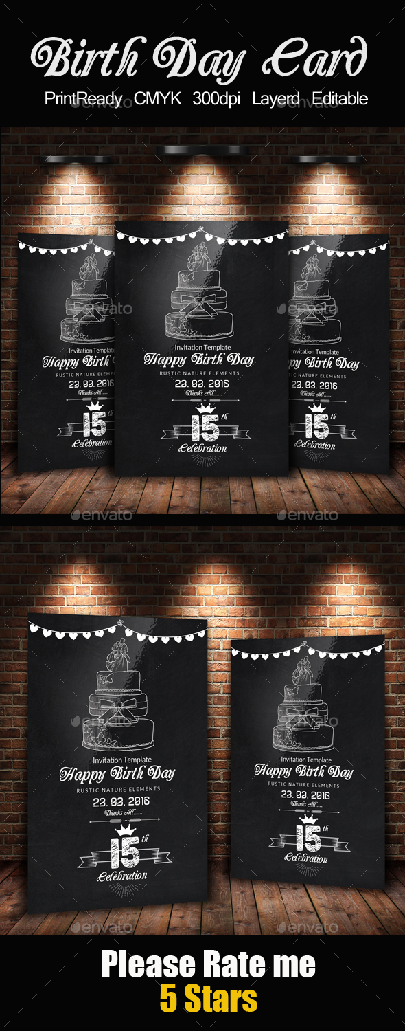 Chalk Board Birthday Invitation Card