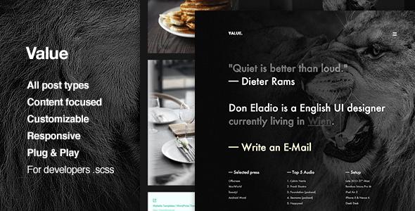Value - Portfolio, Grid-based, Tumblr Theme