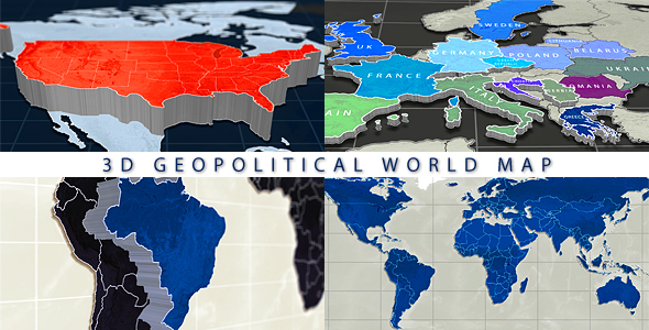 VideoHive 3D Geopolitical World Map 13470659