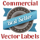 Red and Blue Vector Commercial labels