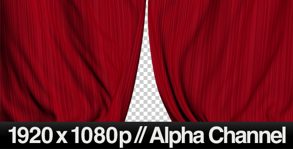 高清视频素材:优雅红色戏剧舞台丝绸开场闭幕动画含Alpha透明通道视频素材Realistic Red Curtains Closing免费下载