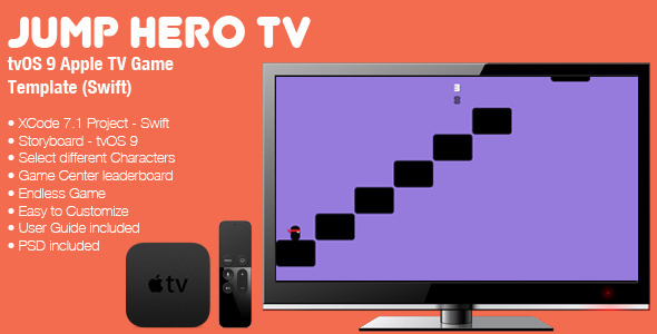 Download Jump Hero TV - tvOS 9 Apple TV Game Template (Swift) nulled download