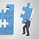 Businessman Assembling 3D Puzzle Mockup