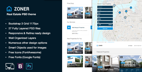 Zoner - Real Estate PSD Template