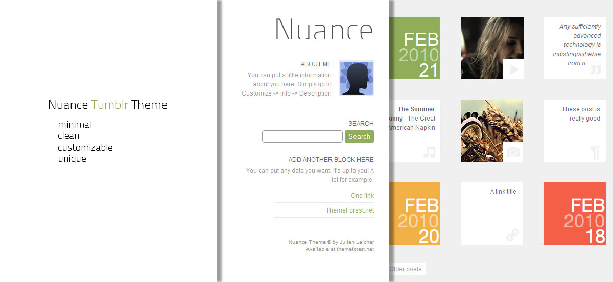 Nuance Tumblr Theme - This is Nuance. A clean, minimal and unique Tumblr Theme.