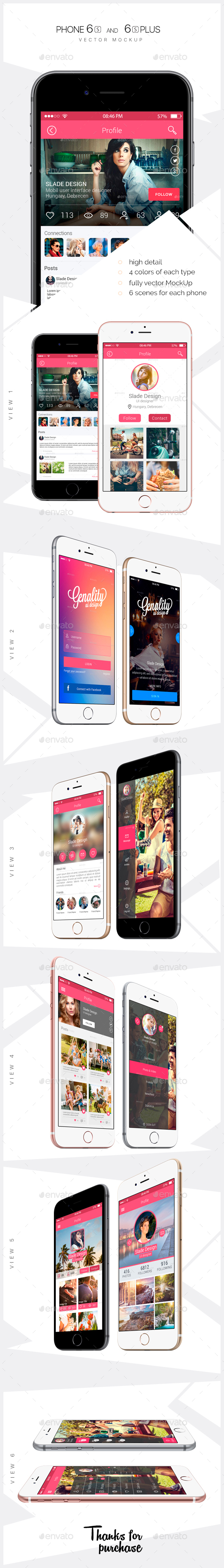 iPhone 6s and 6s Plus vector Mockups