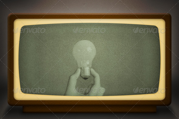 Concept of Invention Old Television - Stock Photo - Images