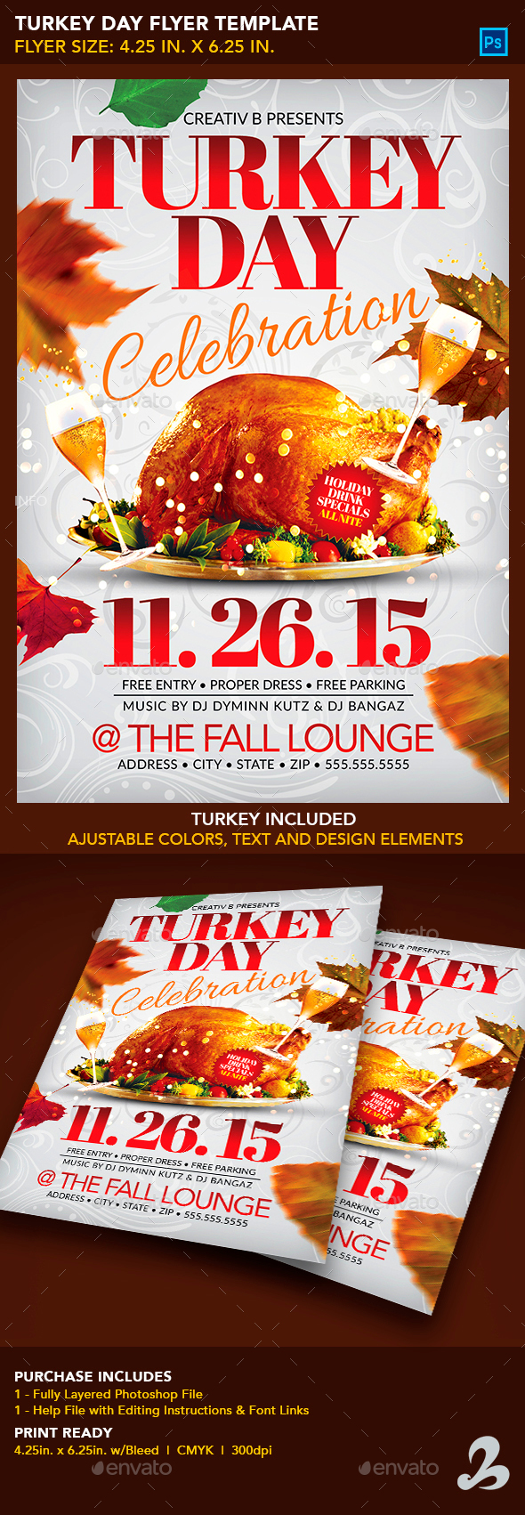 Turkey Day Flyer Template