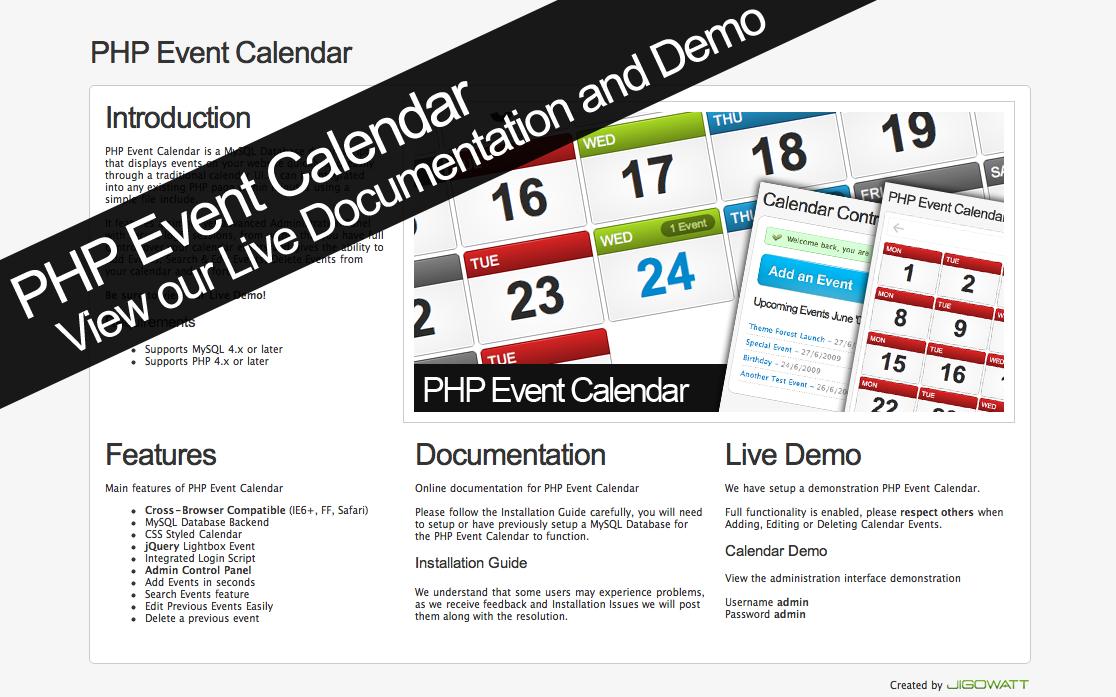PHP Event Calendar