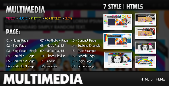 Multimedia - Music, Video, Picture, Blog HTML 5
