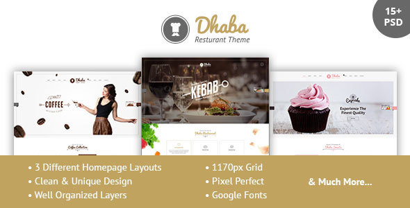 Dhaba - Restaurant, Coffee and Cake Shop PSD