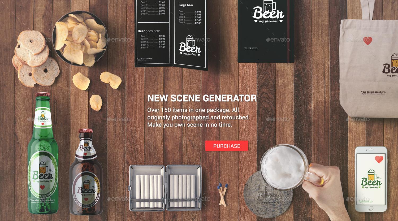 Beer bar mockup hero images scene generator by for Food bar mockup