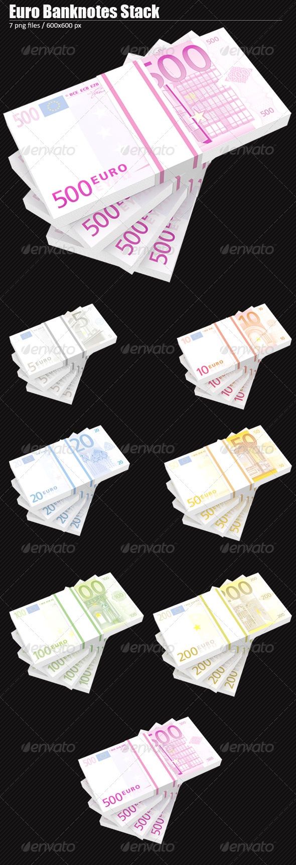 Euro Banknotes Stack - 3D Renders Graphics