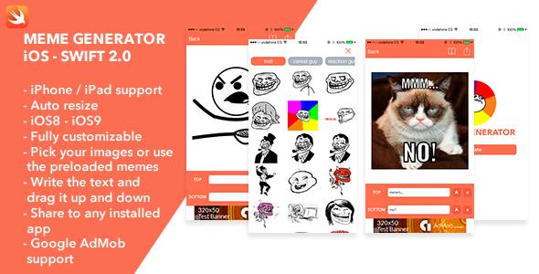 Meme Generator iOS Swift App - CodeCanyon Item for Sale