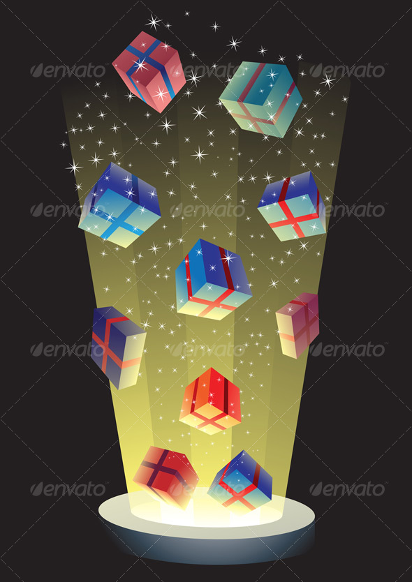 GraphicRiver flying gift boxes 53663