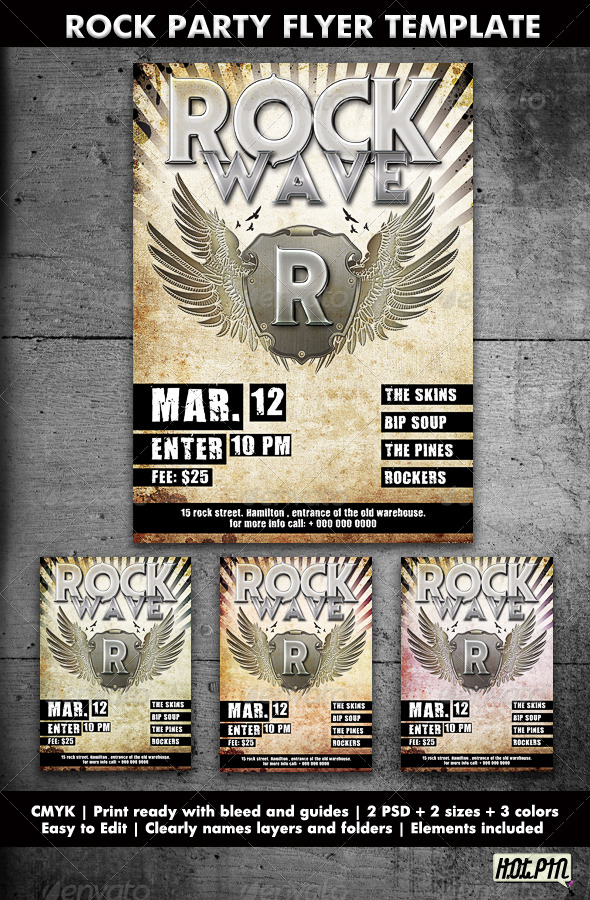 Rock Party/Concert Flyer Template - Clubs & Parties Events