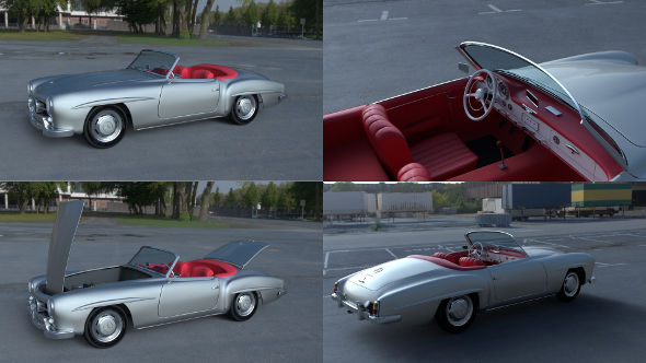 Fully modeled w interior Mercedes 190SL - 3DOcean Item for Sale