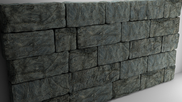 High Poly Natural Stone Wall - 3DOcean Item for Sale