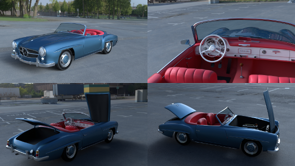 Full w interior Mercedes 190SL  - 3DOcean Item for Sale
