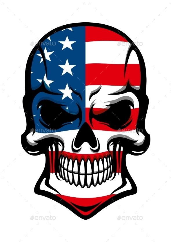 Danger Skull With American Flag Pattern