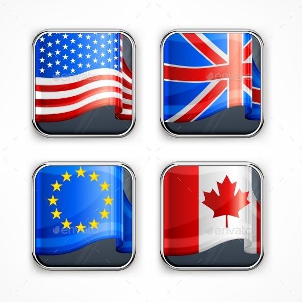 Flag Square Icons