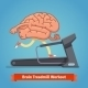 Brain Working Out On Treadmill. Education Concept