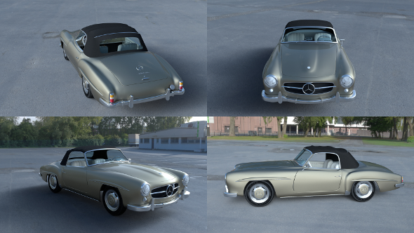 Mercedes 190SL with Interior Soft Top - 3DOcean Item for Sale