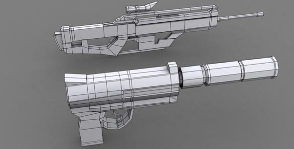 Game Weapon Model 1 - 3DOcean Item for Sale
