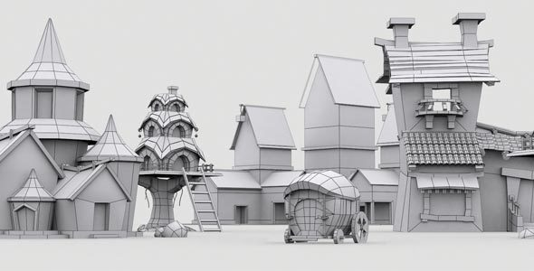Low Poly Game City Model - 3DOcean Item for Sale