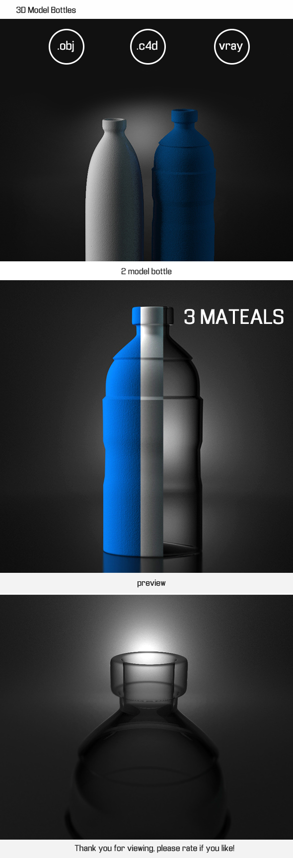 3D Model Bottles - 3DOcean Item for Sale