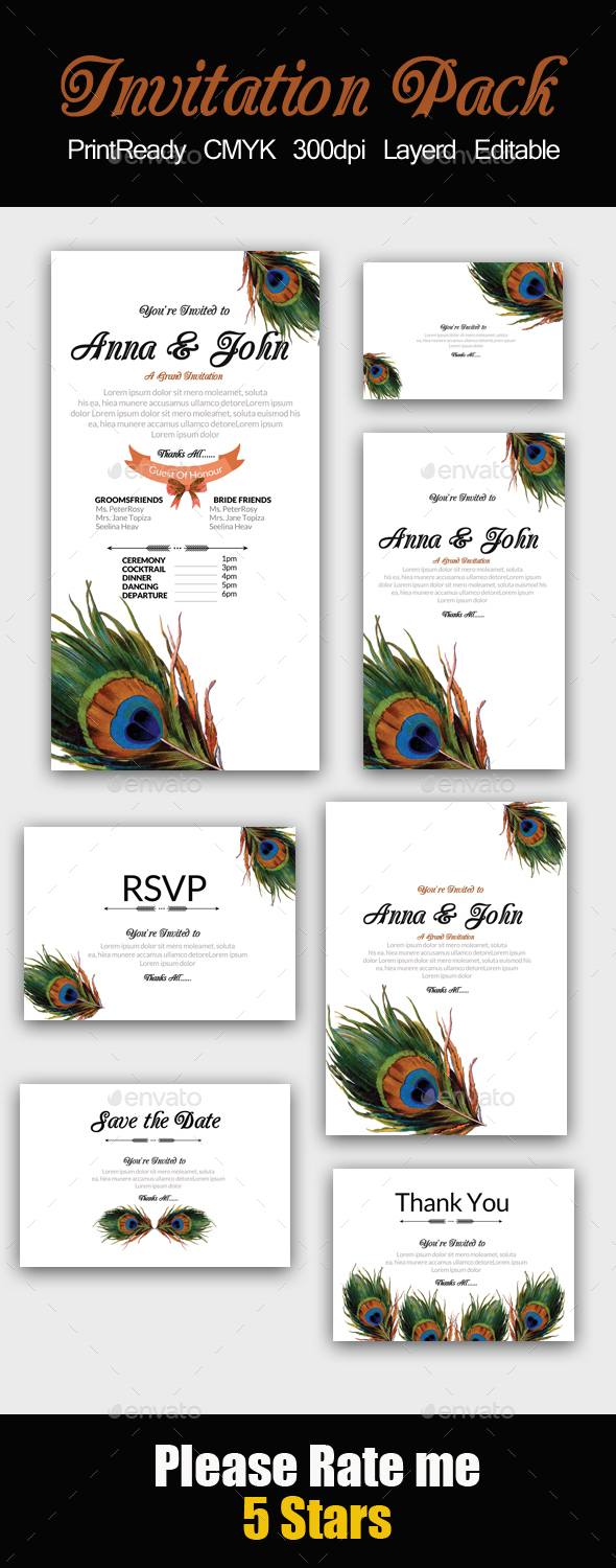 Feathery Invitation Pack