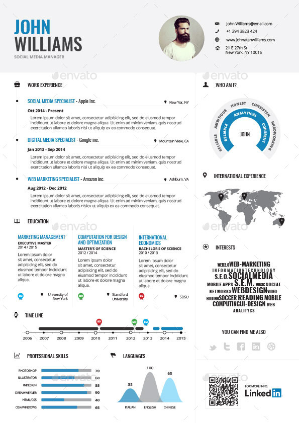 Infographic resume bundle by paolo6180 graphicriver for Infographic resume template free