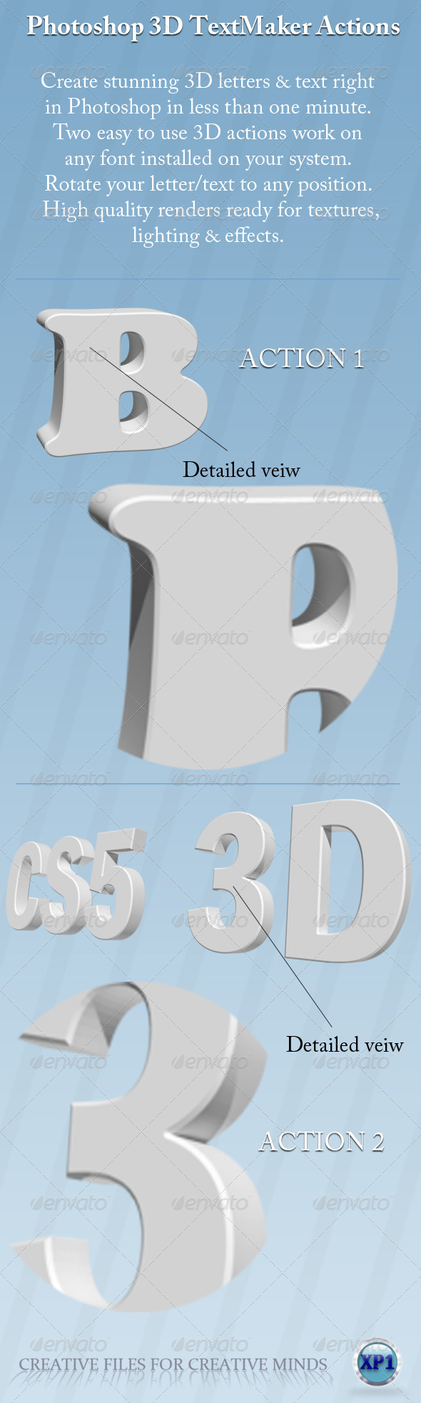 Two Photoshop 3D Text Maker Actions - Text Effects Actions