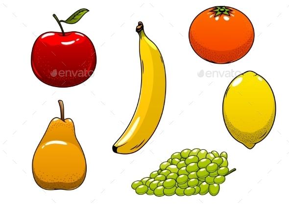 Fresh Juicy And Ripe Isolated Fruits