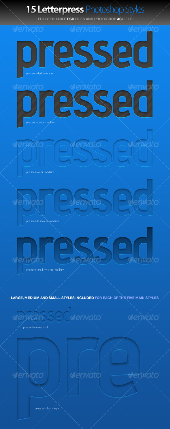 Pressed - Letterpress Photoshop Styles - GraphicRiver Item for Sale