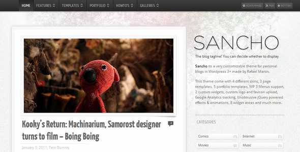 Sancho WP Theme - Personal Blog / Magazine