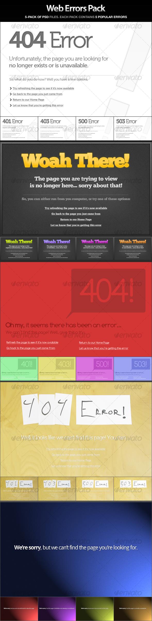 Web Errors Pack - 404, 401, 403, 500, 503 - Web Elements