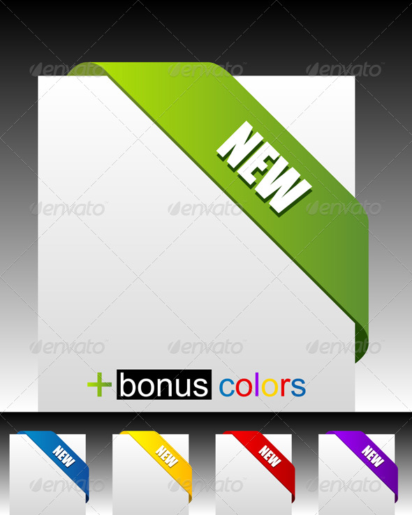 GraphicRiver New green corner business ribbon 58710