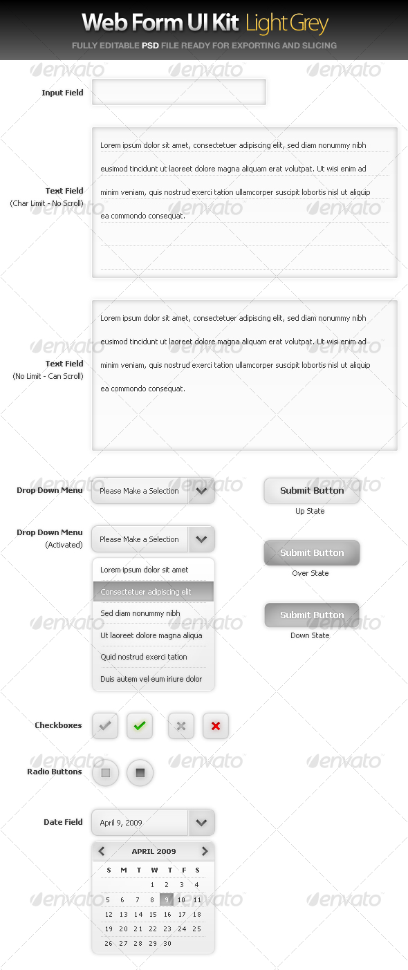 Web Form UI Kit - Large Grey - User Interfaces Web Elements