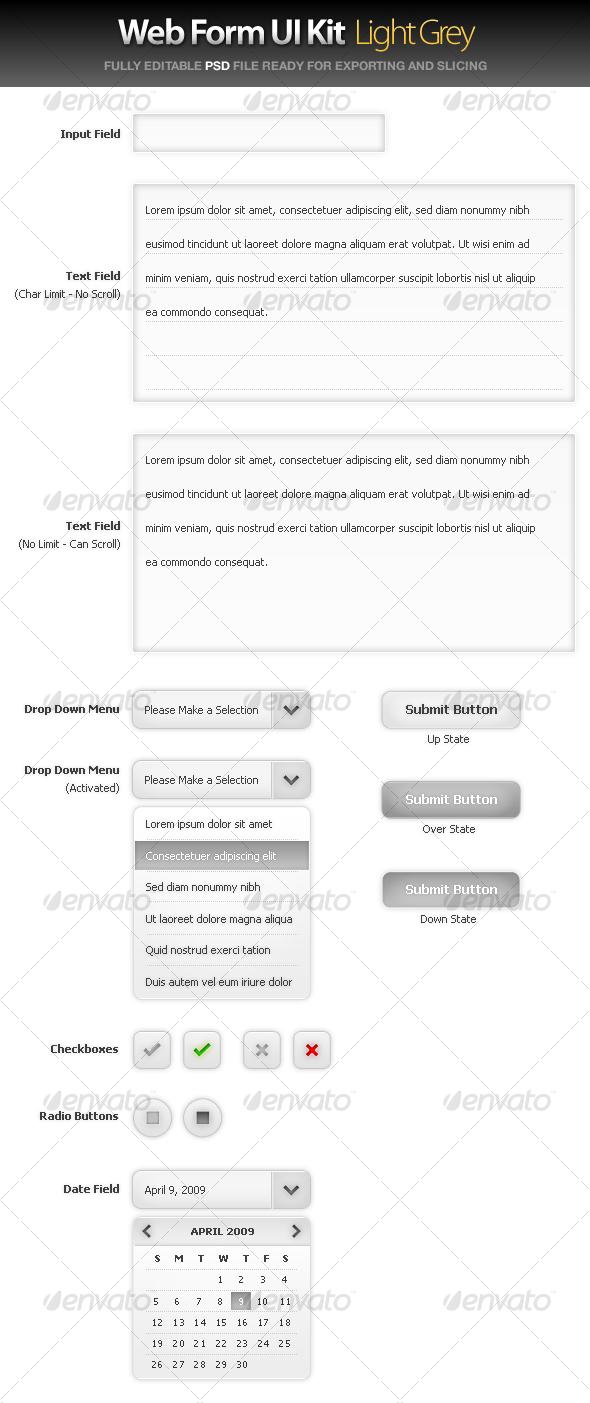 GraphicRiver Web Form UI Kit Large Grey 37349