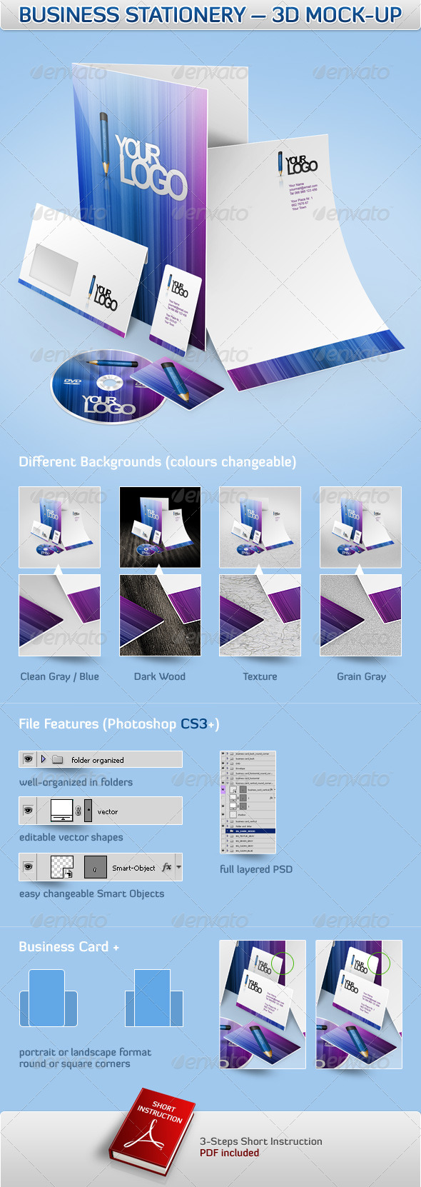 GraphicRiver Business Stationery 3D Mock-Up 161908
