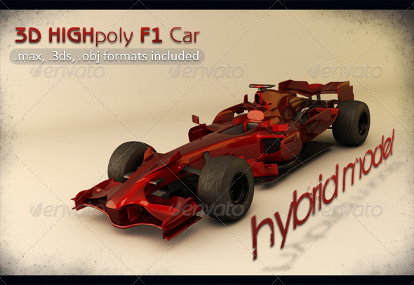 High Poly Hybrid F1 Car - 3DOcean Item for Sale