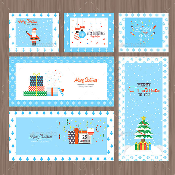 Set of Flat Design Christmas cards